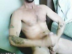 Tattooed Hairy porn Hunk Masturbating part4