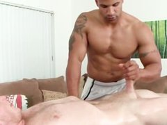 Blowjob with interracial gay tube couple
