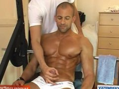 Hunk guy porn get massaged his nice hub pecs and get wanked his huge cock