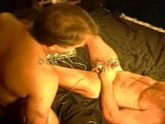 Cock and ball electrostim tube on galore muscle stud