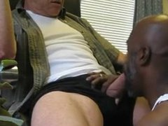 Black daddy sucking a tube fat galore white cock