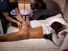 Athlete get's massage gonzo and assplay.