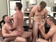 Closeup gay assbanging gonzo action with four xxx hunks