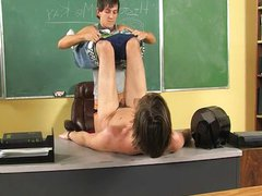 Banged On The Teachers tube Desk!