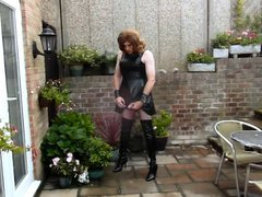 Aliosn wanking in PVC tube Dress galore and Thigh Boots