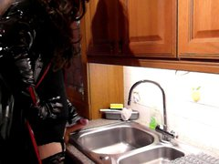 kitchen sink wank gonzo in pvc and xxx thigh boots
