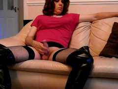 Tranny in porn thigh boots playing with hub her big stiff cock