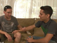 Handsome gays porn fucking on the couch