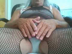Cum in Fishnet Body tube Stocking galore and Panties