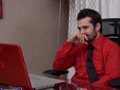 Mature office porn stud jerks his cock hub after hours