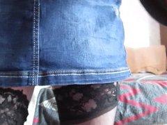 My new denim mini anal skirt.