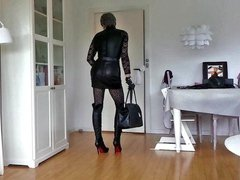 Sissy Sexy porn Leather Skirt
