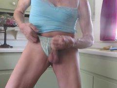 Panty sissy pulls gonzo down his panties, xxx masturbates, squirts.