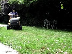 Striptease on lawn tractor anal - fuck anal insertion of the lever
