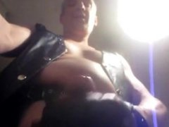 leather sex gay from Finland xnxx shows off his cock and cums on table