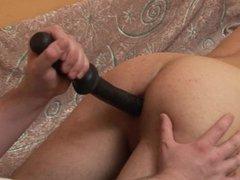 Amateur teases ass with tube dildo galore then gets fucked bareback