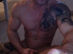 Tatoo Stud porn Cum Over His Body