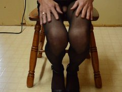 Cock Flash in gonzo Crotchless Pantyhose