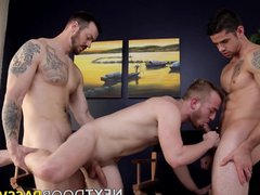 Cute bearded guy double tube barebacked galore by two big dicked jocks