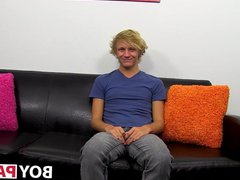 Interviewed twink Evan gonzo Stone stuffs ass xxx with black dildo