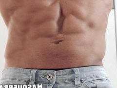 Beefy stud shows gonzo his six pack xxx and tugs his fat dick solo
