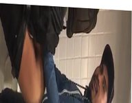 Latino fucking in public anal restroom