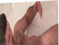 Shaving under porn shower