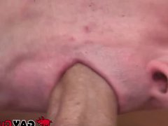 Inked short-haired porn dude receives an amazing hub sloppy blowjob