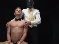 'BoyForSale - Masked daddy tube fucks galore young slave boy with glass dildo'